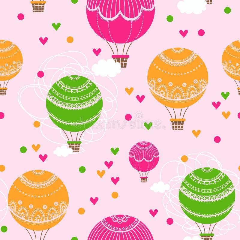 Υπόβαθρο με τα μπαλόνια και την καρδιά ζεστού αέρα διανυσματική απεικόνιση