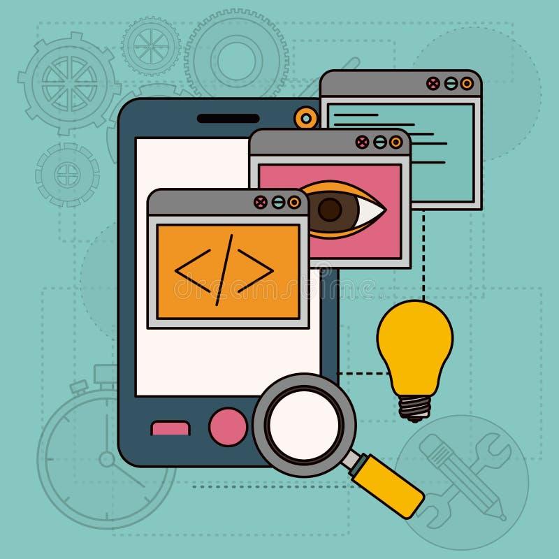 Υπόβαθρο με τα παράθυρα apps στην ανάπτυξη των ιδεών στο smartphone απεικόνιση αποθεμάτων