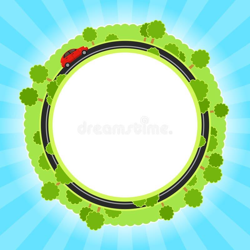 Υπόβαθρο με τα πράσινα και το αυτοκίνητο απεικόνιση αποθεμάτων