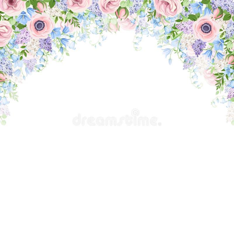 Υπόβαθρο με τα ρόδινα, μπλε και πορφυρά λουλούδια επίσης corel σύρετε το διάνυσμα απεικόνισης διανυσματική απεικόνιση