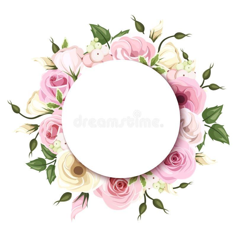Υπόβαθρο με τα ρόδινα και άσπρα τριαντάφυλλα και τα λουλούδια lisianthus Διάνυσμα eps-10 απεικόνιση αποθεμάτων