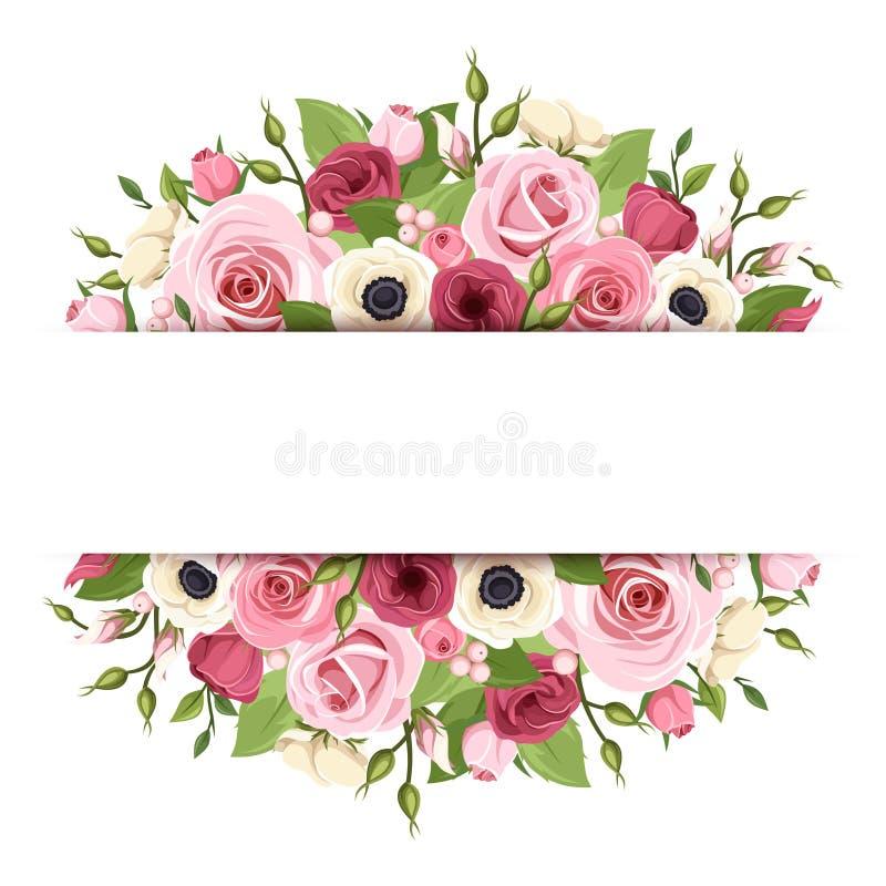 Υπόβαθρο με τα ρόδινα, κόκκινα και άσπρα λουλούδια Διάνυσμα eps-10 απεικόνιση αποθεμάτων