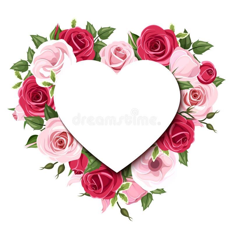 Υπόβαθρο με τα τριαντάφυλλα και τα λουλούδια lisianthus Διάνυσμα eps-10 διανυσματική απεικόνιση