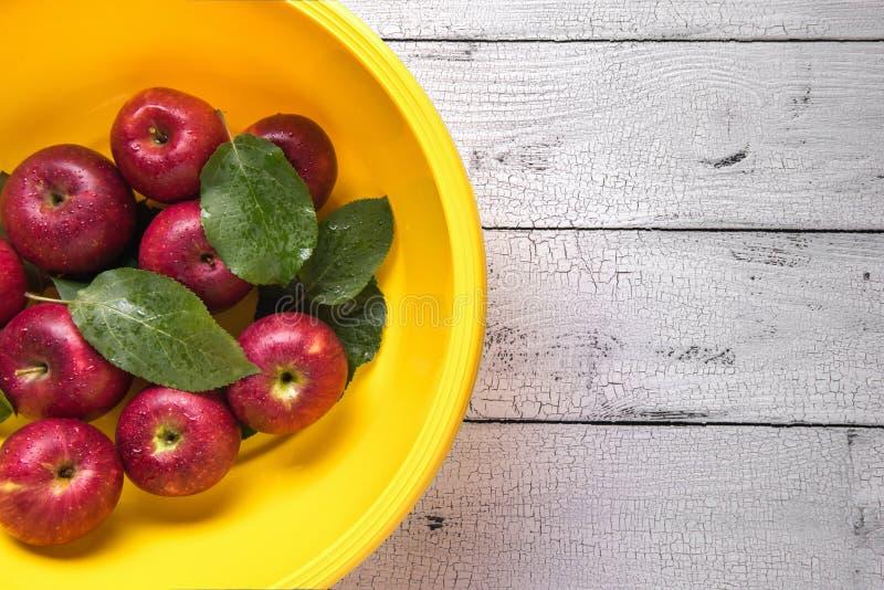 Υπόβαθρο με τα υγρά κόκκινα μήλα στο κίτρινο washbowl στοκ φωτογραφία με δικαίωμα ελεύθερης χρήσης