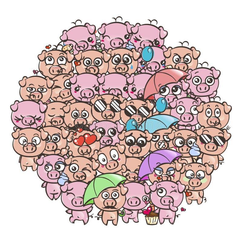 Υπόβαθρο με τα χαριτωμένα χοιρίδια μωρών Χοίροι kawaii εικόνας κινούμενων σχεδίων κρητιδογραφιών απεικόνιση αποθεμάτων