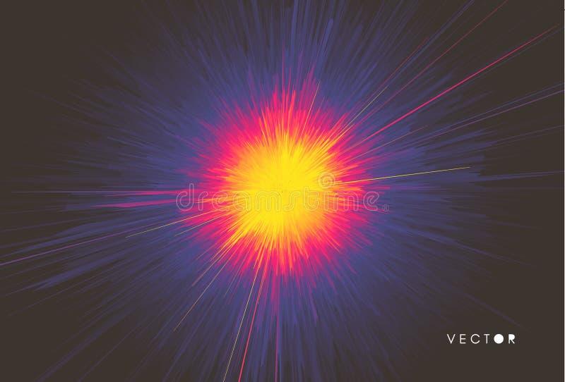 Υπόβαθρο με την έκρηξη Δυναμικές γραμμές Starburst Ηλιακή ή εκπομπή αστροφεγγιάς τρισδιάστατο φουτουριστικό ύφος τεχνολογίας r διανυσματική απεικόνιση