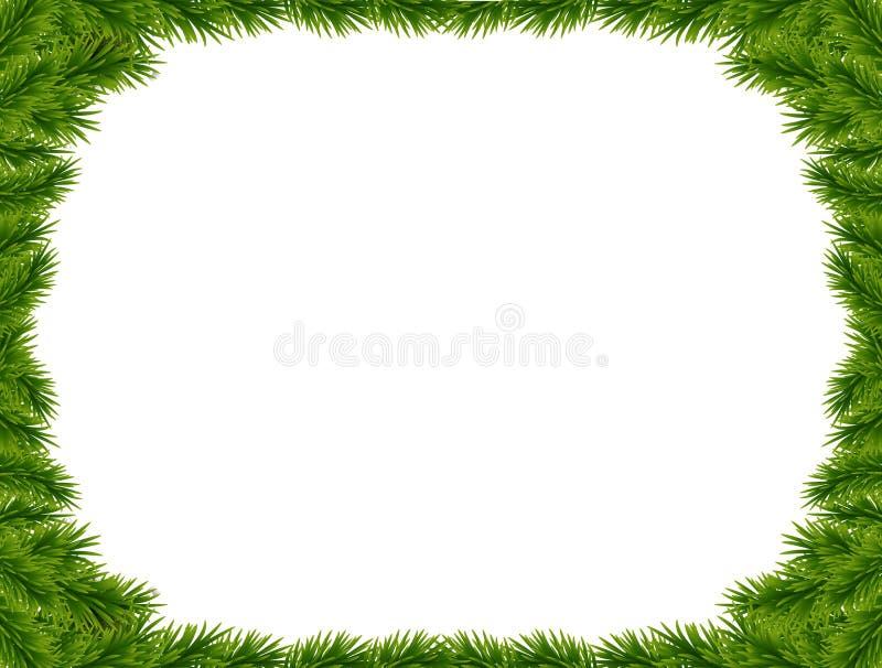 Υπόβαθρο με τους διανυσματικούς κλάδους χριστουγεννιάτικων δέντρων και διάστημα για το tex διανυσματική απεικόνιση