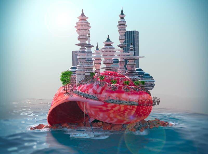 υπόβαθρο με το θαλασσινό κοχύλι και τη ecologic φουτουριστική πόλη απεικόνιση αποθεμάτων