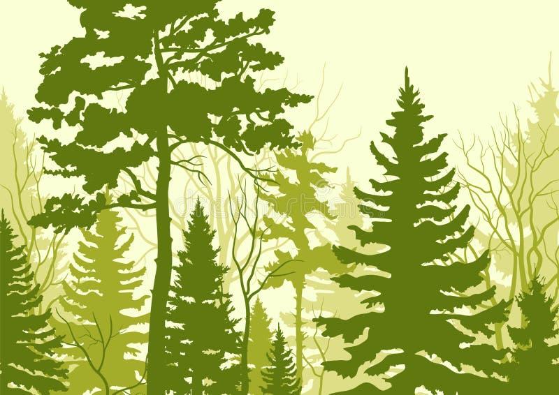 Υπόβαθρο με το τοπίο Θερινοί δασικοί τουρισμός και ταξίδι ελεύθερη απεικόνιση δικαιώματος