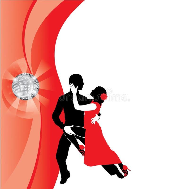 Υπόβαθρο με το χορεύοντας ζεύγος διανυσματική απεικόνιση
