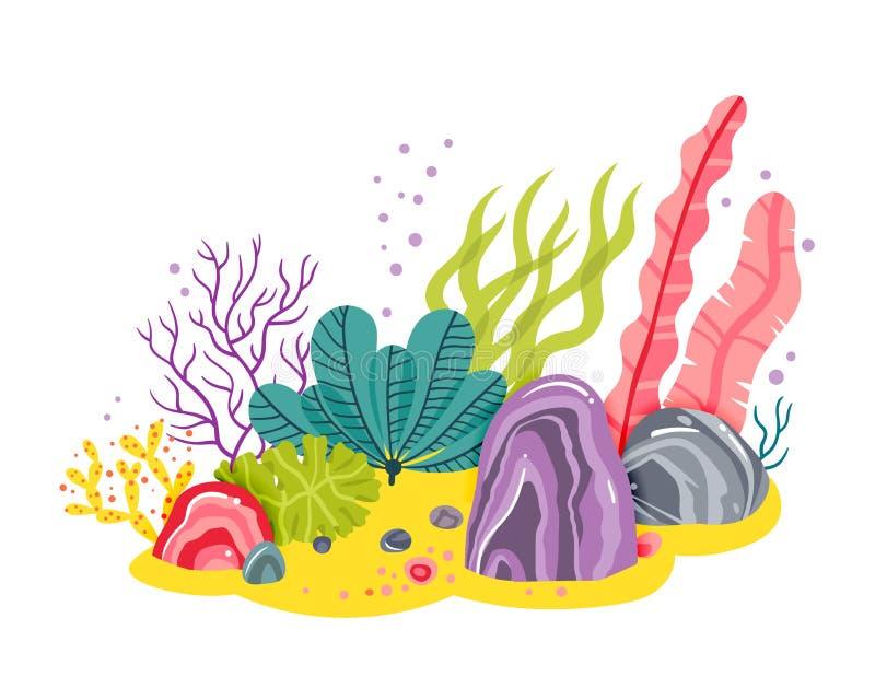 Υπόβαθρο με το ωκεάνιο κατώτατο σημείο, κοραλλιογενείς ύφαλοι, φύκι Διανυσματική αφηρημένη απεικόνιση ενός υποβρύχιου τοπίου στο  απεικόνιση αποθεμάτων
