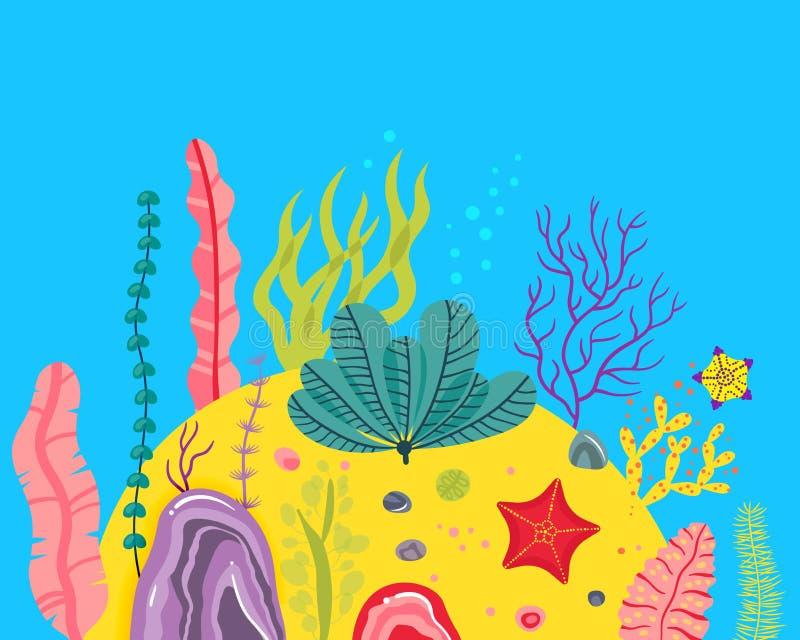 Υπόβαθρο με το ωκεάνιο κατώτατο σημείο, κοραλλιογενείς ύφαλοι, φύκι Διανυσματική αφηρημένη απεικόνιση ενός υποβρύχιου τοπίου στο  ελεύθερη απεικόνιση δικαιώματος