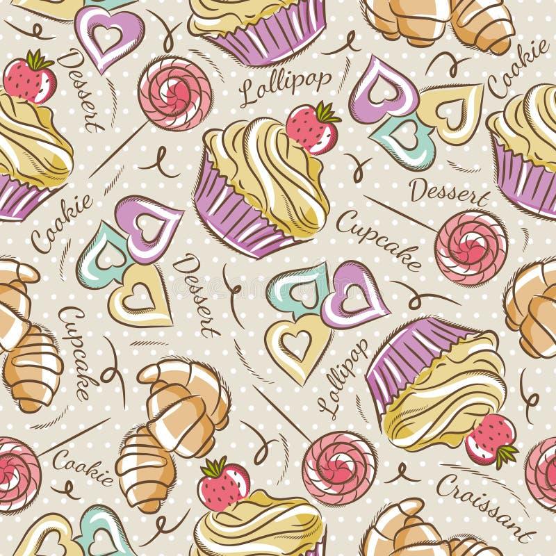 Υπόβαθρο με το cupcake, croissant και το μπισκότο διανυσματική απεικόνιση