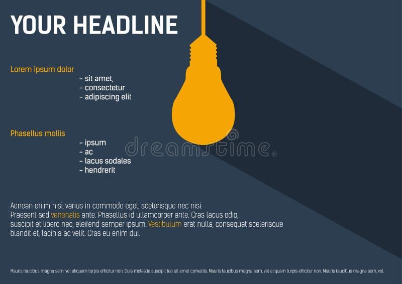 Υπόβαθρο με το lightbulb για την παρουσίασή σας ελεύθερη απεικόνιση δικαιώματος