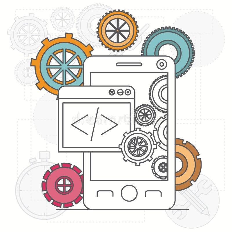 Υπόβαθρο με το smartphone apps και εργαλεία για τους υπεύθυνους για την ανάπτυξη απεικόνιση αποθεμάτων