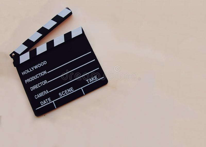 Υπόβαθρο με clapboard κινηματογράφων στοκ φωτογραφία με δικαίωμα ελεύθερης χρήσης