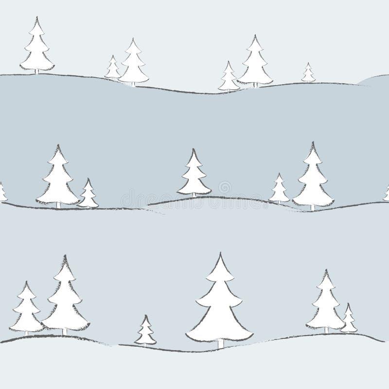 Υπόβαθρο με fir-trees το hand-drawn δημιουργικό σύγχρονο υπόβαθρο για το άνευ ραφής σχέδιο σχεδίων κάλυψης ταπετσαριών καρτών εμβ διανυσματική απεικόνιση