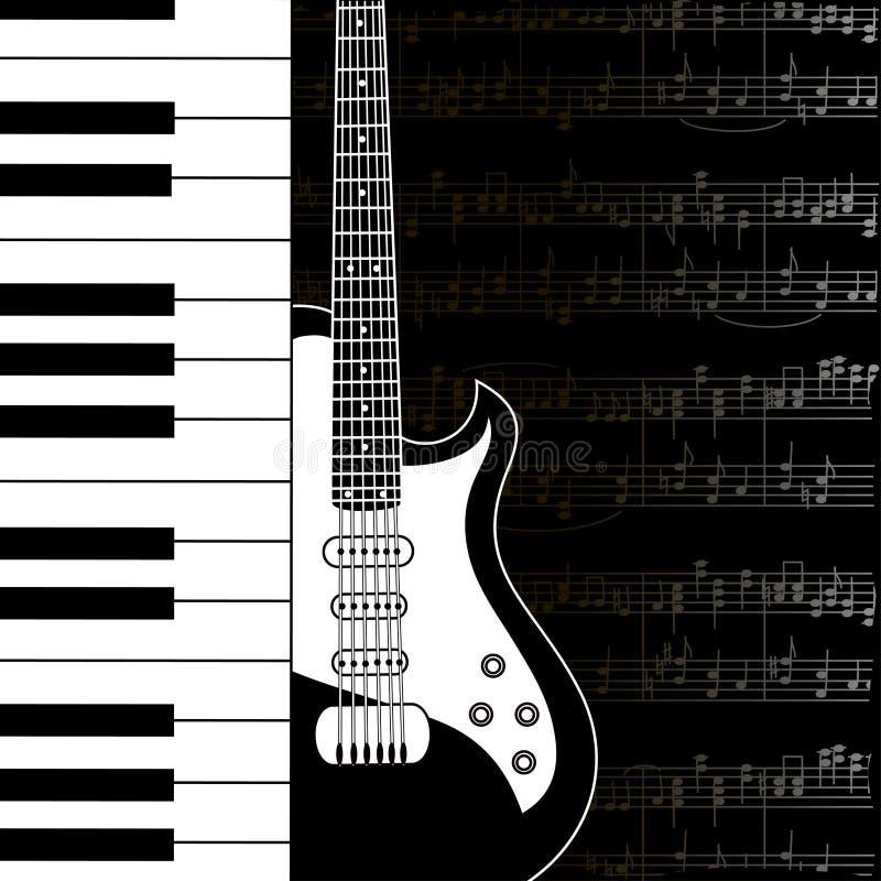 Υπόβαθρο μουσικής με τις σημειώσεις πληκτρολογίων, κιθάρων και σανίδων απεικόνιση αποθεμάτων