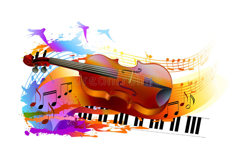 Υπόβαθρο μουσικής με το βιολί και το πιάνο διανυσματική απεικόνιση