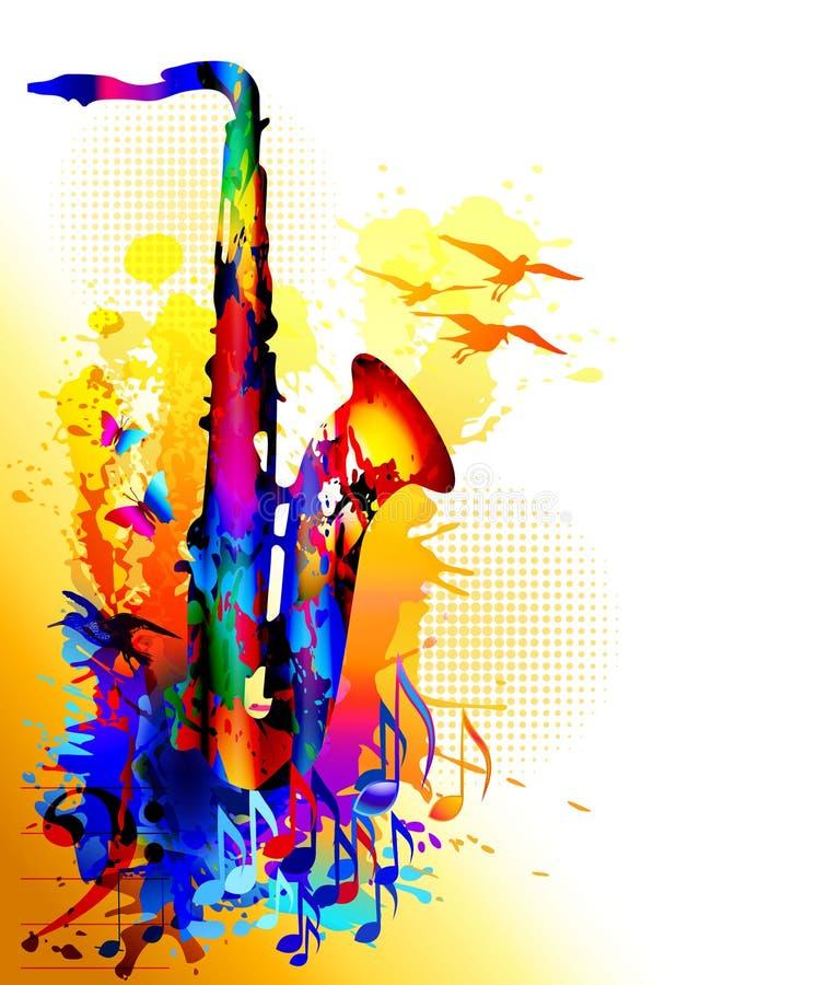 Υπόβαθρο μουσικής με το saxophone, τις μουσικές νότες και τα πετώντας πουλιά διανυσματική απεικόνιση