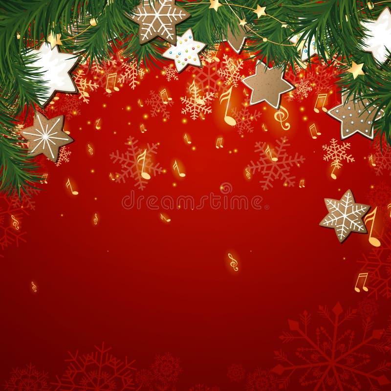 Υπόβαθρο μουσικής Χριστουγέννων απεικόνιση αποθεμάτων