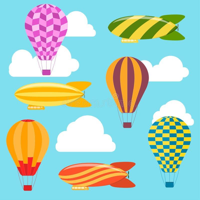 Υπόβαθρο μπαλονιών και αεροσκαφών αέρα διάνυσμα ελεύθερη απεικόνιση δικαιώματος