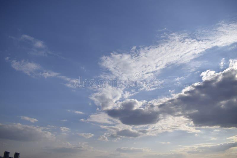 Υπόβαθρο μπλε ουρανού με τα σύννεφα Η ομορφιά του ουρανού με τα σύννεφα και τον ήλιο στοκ φωτογραφίες με δικαίωμα ελεύθερης χρήσης