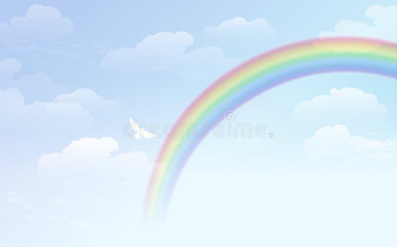 Υπόβαθρο μπλε ουρανού με το ουράνιο τόξο και το άσπρο περιστέρι ελεύθερη απεικόνιση δικαιώματος