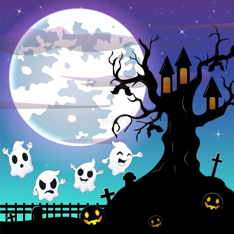 Υπόβαθρο νύχτας αποκριών με το πετώντας φάντασμα και ρόπαλα που κρεμούν στο τρομακτικό σπίτι δέντρων διανυσματική απεικόνιση
