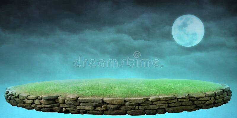 Υπόβαθρο νύχτας με την εξέδρα πετρών ελεύθερη απεικόνιση δικαιώματος