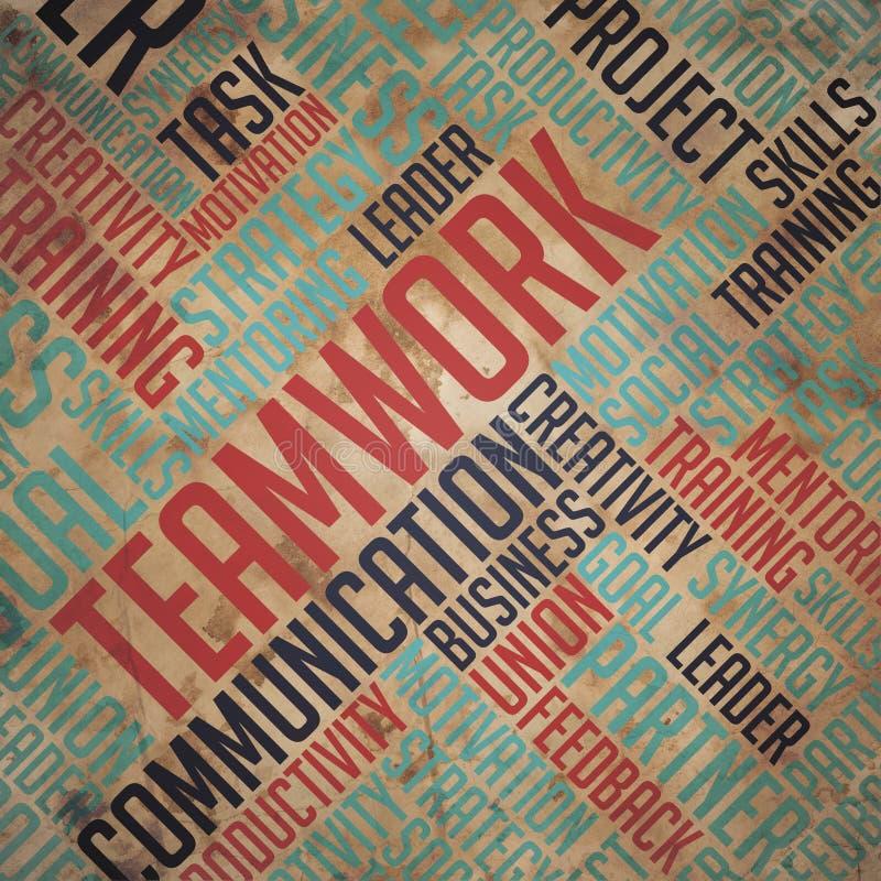 Υπόβαθρο ομαδικής εργασίας - έννοια Wordcloud διανυσματική απεικόνιση