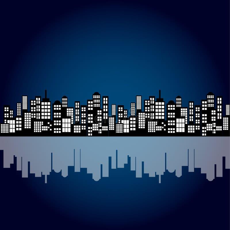 Υπόβαθρο οριζόντων πόλεων νύχτας κινούμενων σχεδίων ύφους ελεύθερη απεικόνιση δικαιώματος