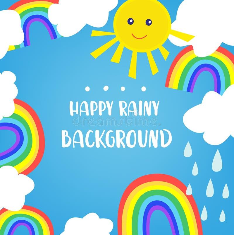 Υπόβαθρο ουράνιων τόξων για τα παιδιά, με τον ήλιο και τα σύννεφα Χαριτωμένο σχέδιο, διανυσματική απεικόνιση απεικόνιση αποθεμάτων