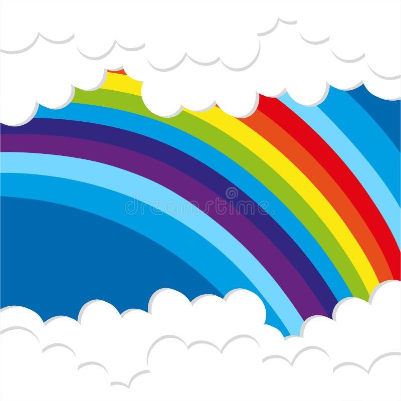 Υπόβαθρο ουράνιων τόξων με τα χνουδωτά σύννεφα απεικόνιση αποθεμάτων