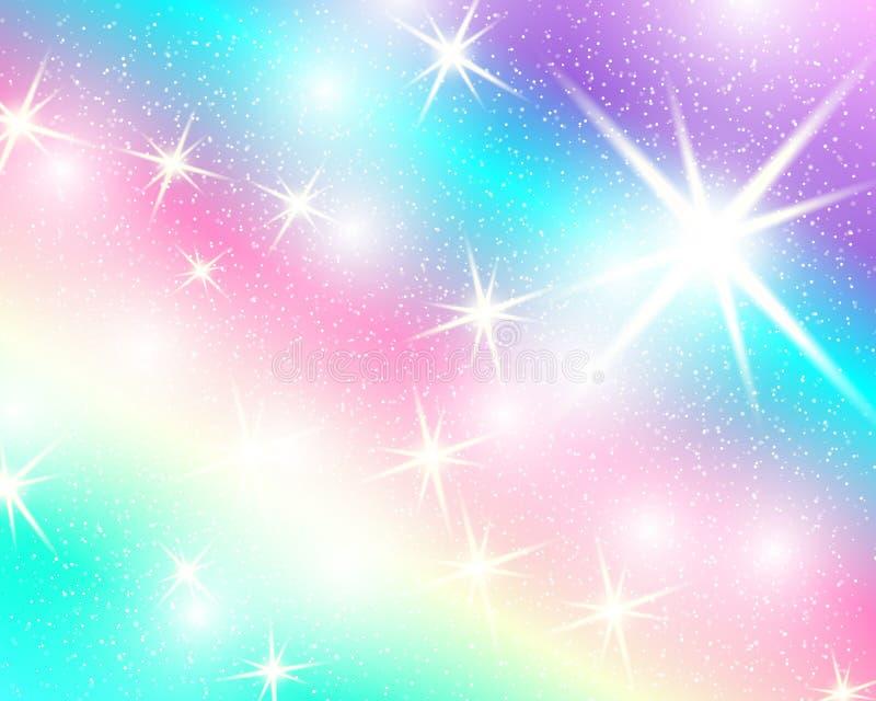 Υπόβαθρο ουράνιων τόξων μονοκέρων Ολογραφικός ουρανός στο χρώμα κρητιδογραφιών Φωτεινό σχέδιο γοργόνων στα χρώματα πριγκηπισσών ε διανυσματική απεικόνιση