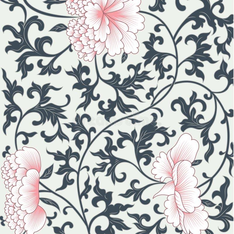 Υπόβαθρο λουλουδιών στο κινεζικό ύφος διανυσματική απεικόνιση