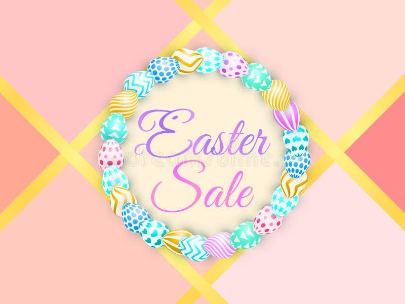 Υπόβαθρο Πάσχας με τα φωτεινά αυγά πώληση εγγραφής Πάσχα με το λαγουδάκι καθιερώνον τη μόδα ζωηρόχρωμο διάνυσμα για το σκηνικό πρ απεικόνιση αποθεμάτων