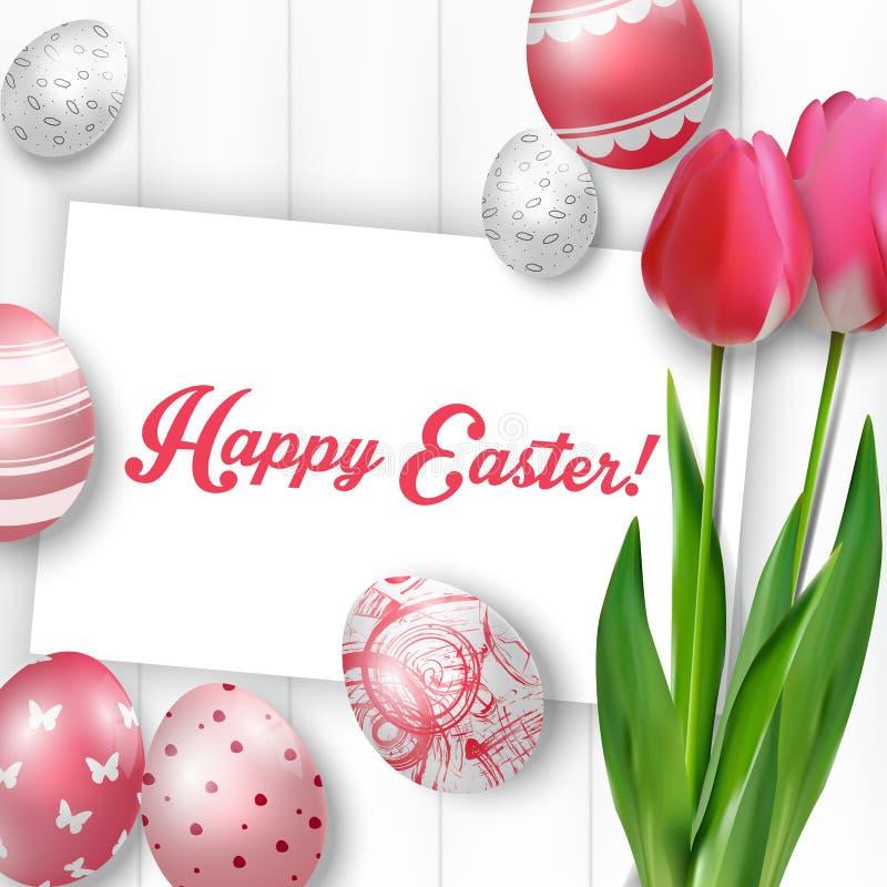 Υπόβαθρο Πάσχας με τα χρωματισμένα αυγά, τις κόκκινες τουλίπες και τη ευχετήρια κάρτα πέρα από το άσπρο ξύλο διανυσματική απεικόνιση