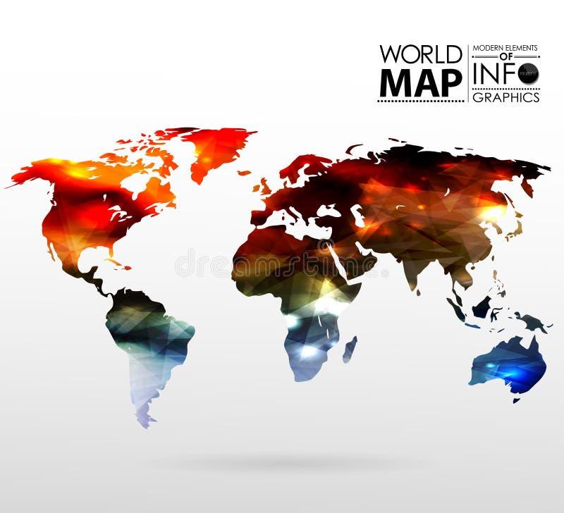 Υπόβαθρο παγκόσμιων χαρτών στο πολύγωνο απεικόνιση αποθεμάτων