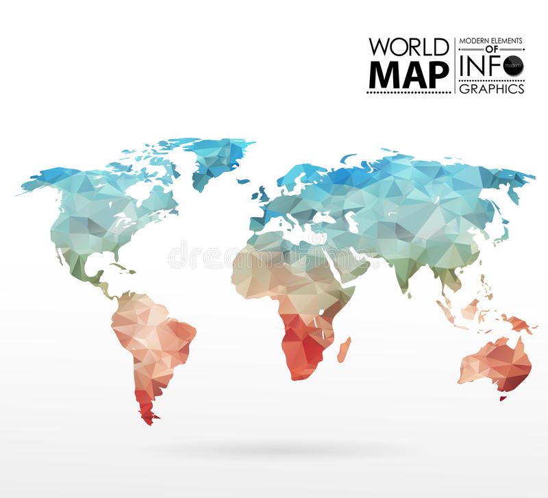 Υπόβαθρο παγκόσμιων χαρτών στο πολύγωνο διανυσματική απεικόνιση