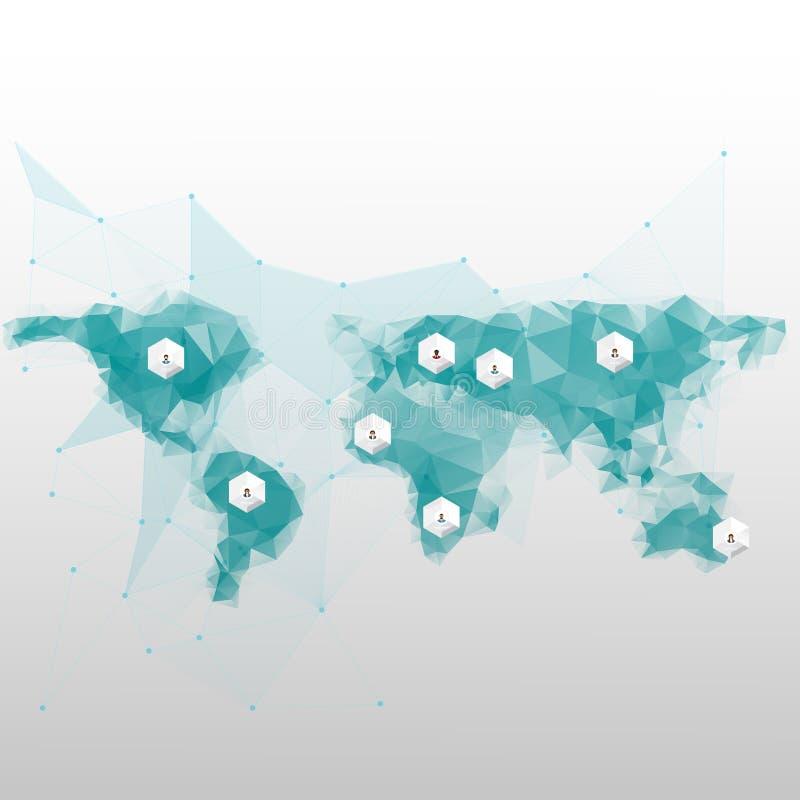 Υπόβαθρο παγκόσμιων χαρτών στο polygonal ύφος διανυσματική απεικόνιση