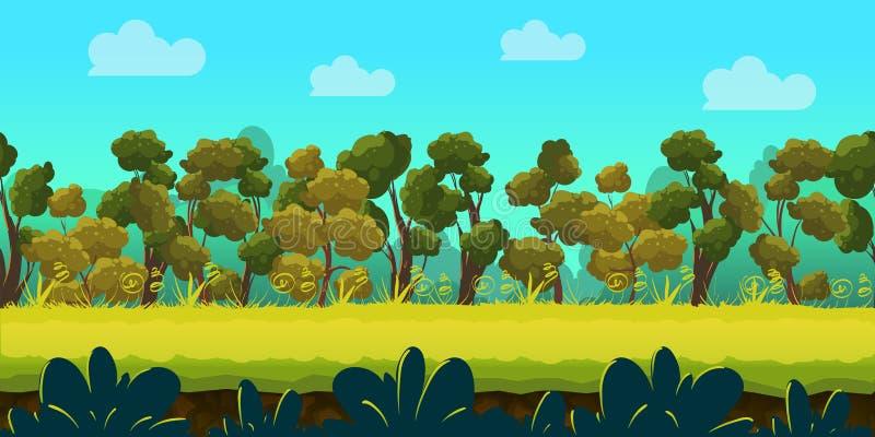 Υπόβαθρο παιχνιδιών με το δασικό και πράσινο πρώτο πλάνο, διάνυσμα απεικόνιση αποθεμάτων