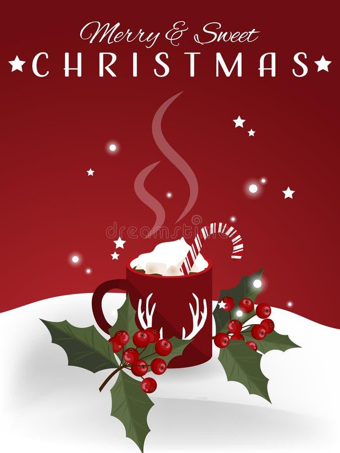 Υπόβαθρο περιόδου διακοπών Χριστουγέννων με την κόκκινη κούπα της καυτής σοκολάτας με marshmallow και καραμελών τους καλάμους κον απεικόνιση αποθεμάτων