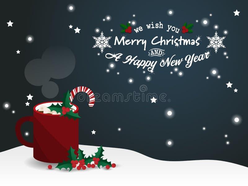 Υπόβαθρο περιόδου διακοπών Χριστουγέννων με την κόκκινη κούπα της καυτής σοκολάτας με marshmallow και καραμελών τους καλάμους κον διανυσματική απεικόνιση