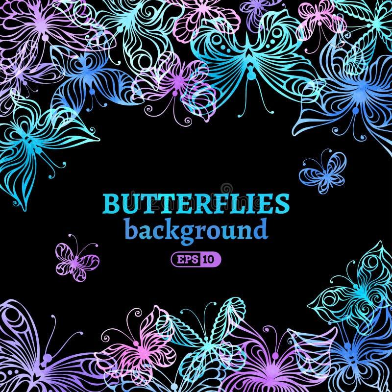 Υπόβαθρο πεταλούδων Watercolor ελεύθερη απεικόνιση δικαιώματος