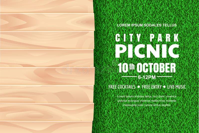 Υπόβαθρο πικ-νίκ Διανυσματική αφίσα, πρότυπο σχεδίου εμβλημάτων με το ρεαλιστικό ξύλινο πίνακα στον πράσινο χορτοτάπητα χλόης απεικόνιση αποθεμάτων