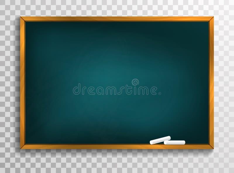 Υπόβαθρο πινάκων και ξύλινο πλαίσιο, τριμμένος έξω βρώμικος πίνακας κιμωλίας, διανυσματική απεικόνιση ελεύθερη απεικόνιση δικαιώματος
