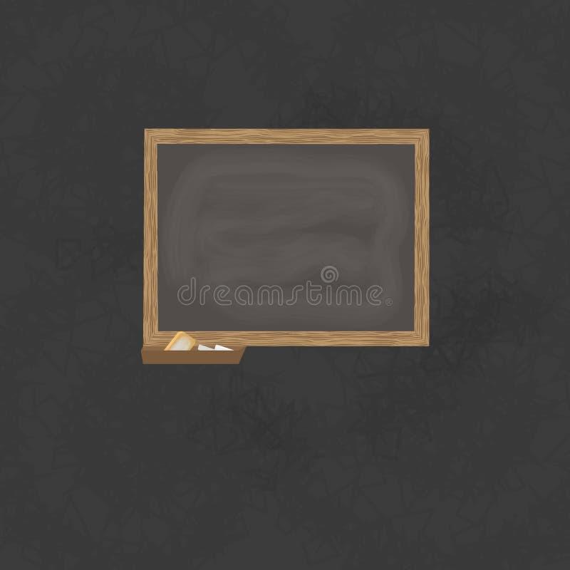 Υπόβαθρο πινάκων και ξύλινο πλαίσιο, τριμμένος έξω βρώμικος πίνακας κιμωλίας απεικόνιση αποθεμάτων