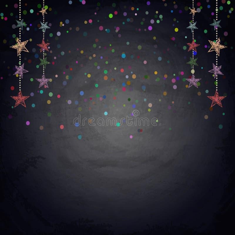 Υπόβαθρο πινάκων κιμωλίας με τα αστέρια υφάσματος σχεδίων απεικόνιση αποθεμάτων