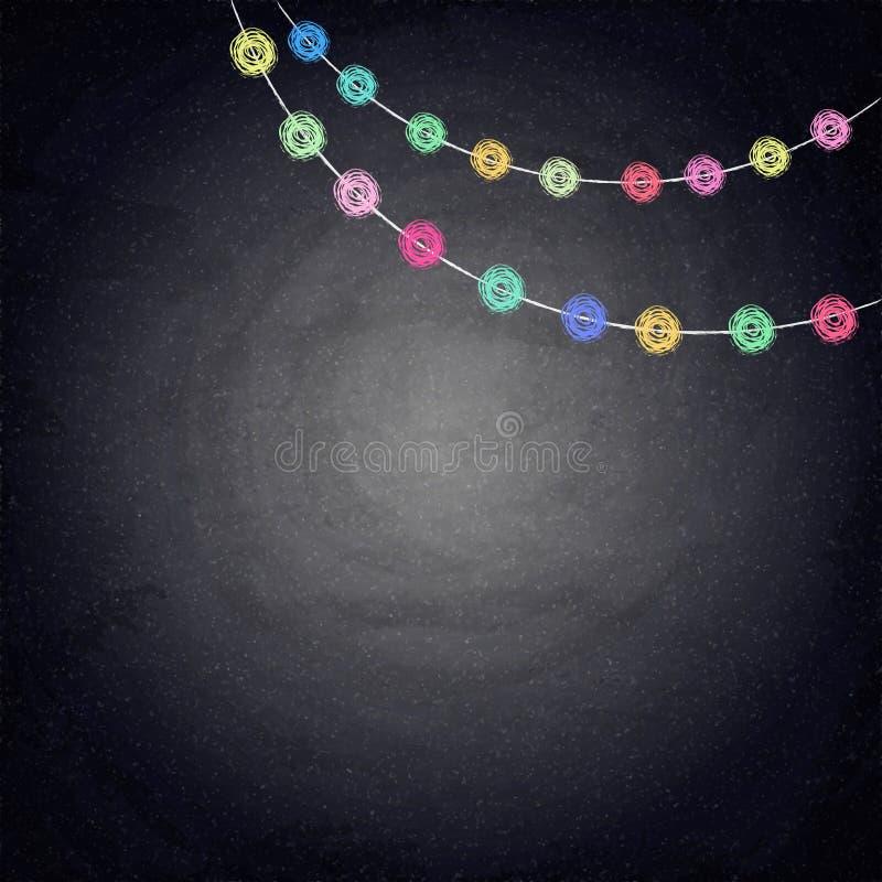 Υπόβαθρο πινάκων κιμωλίας με το ντεκόρ υφάσματος σχεδίων διανυσματική απεικόνιση